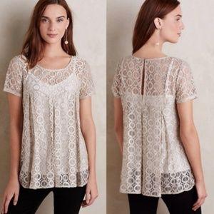 Anthro | Akemi + Kin | Lyra Metallic Lace Pullover